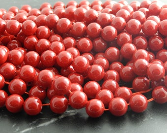 10 red shell beads, 8 mm