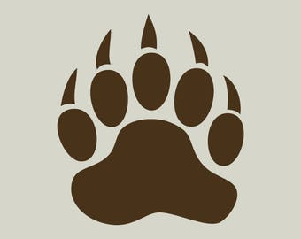 Bear. Bear paw. Bear print. Adhesive vinyl stencil. (ref 168)