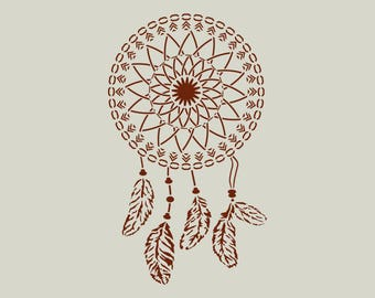 Dream catcher stencil. Adhesive vinyl stencil. Dream catcher. (ref 762)