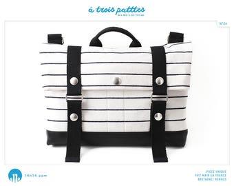 "BAG ""3 patttes/04"" light beige with black stripes and black leather"