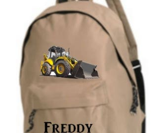 bag has beige backhoe personalized with name