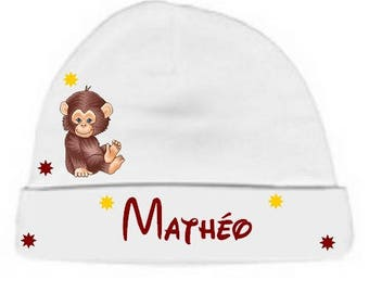 White little beanie baby monkey personalized with name