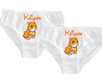 Set of 2 girl panties white pigs from India personalized with name