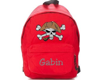 bag has red pirate personalized with name