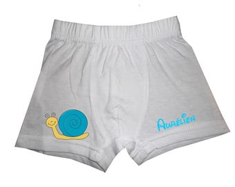 White snail boy shorts personalized with name