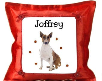 Red cushion dog bull terrier personalized with name