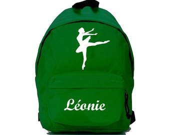 Green dancer backpack personalized with name