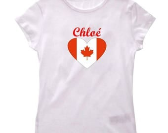 Girl personalized with name Canada t-shirt