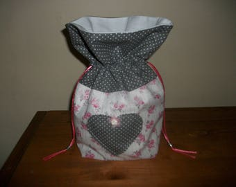 BAG POUCH PURSE SHABBY CHIC PINK AND GRAY POLKA DOT WHITE LACE