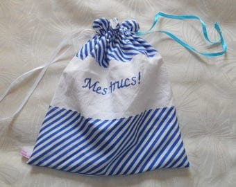 """Things""blue striped cotton, embroidered, lined purse"