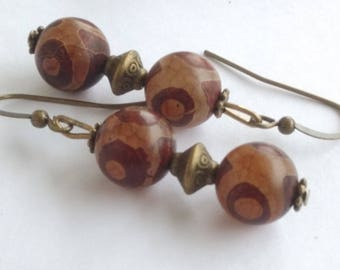 Earrings ethnic trend agate onyx - 10 mm beads