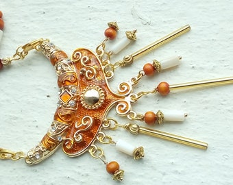 -Necklace 2 in 1, ethnic, orange and Gold Collection