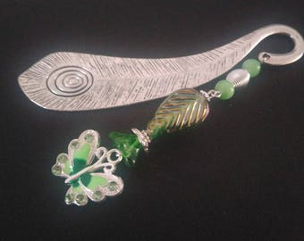 Bookmark: Peacock feather silver decorated