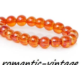 stunning! orange 20 glass beads 6mm