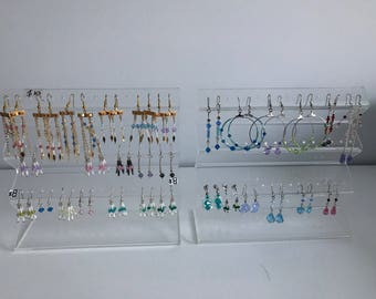 3 x Clear perspex earring holders