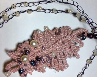 Hand crocheted long feather necklace