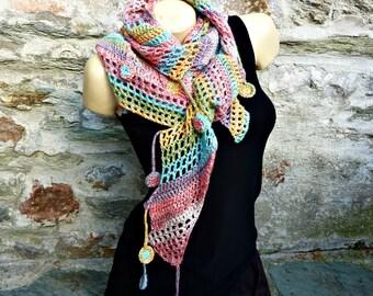 Made entirely crochet asymmetrical scarf