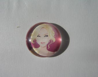 Cabochon 25 mm round domed with her blonde and smart woman's face image