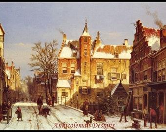 Cross Stitch Pattern - A Dutch Village in Winter