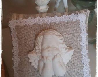 Coussin senteur et son plâtre ange penseur