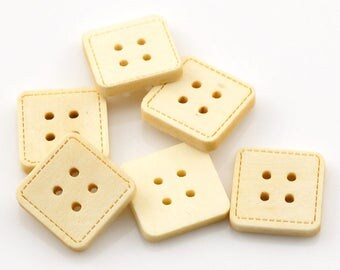 Square wooden buttons