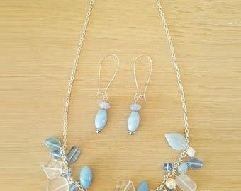 "Set ""blue flowers"" Preciosa Czech glass"