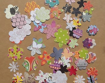 Set of 100 paper flowers in various cuts