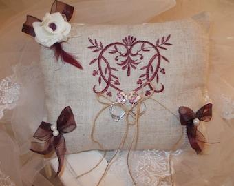 Burgundy and cream ring bearer pillow