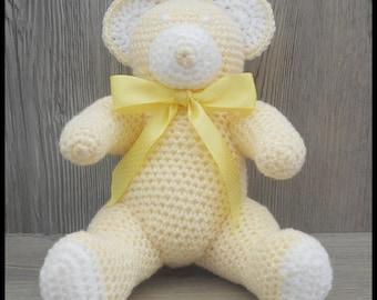 Yellow glitter and crochet Teddy