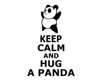 """Keep calm and hug a panda"" stickers"