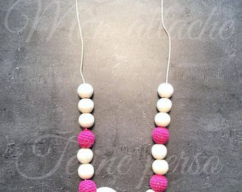 breastfeeding and Babywearing necklace ~ model fuschia