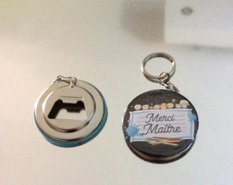 Keychain bottle opener with 50mm cabochon