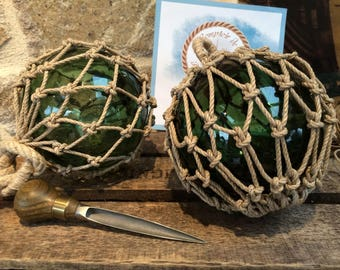 Navy decoration - ball - peach - glass - sailors - hemp knots floats