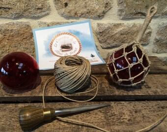 Navy decoration - ball - fishing floats - puffed - knots - hemp - red glass