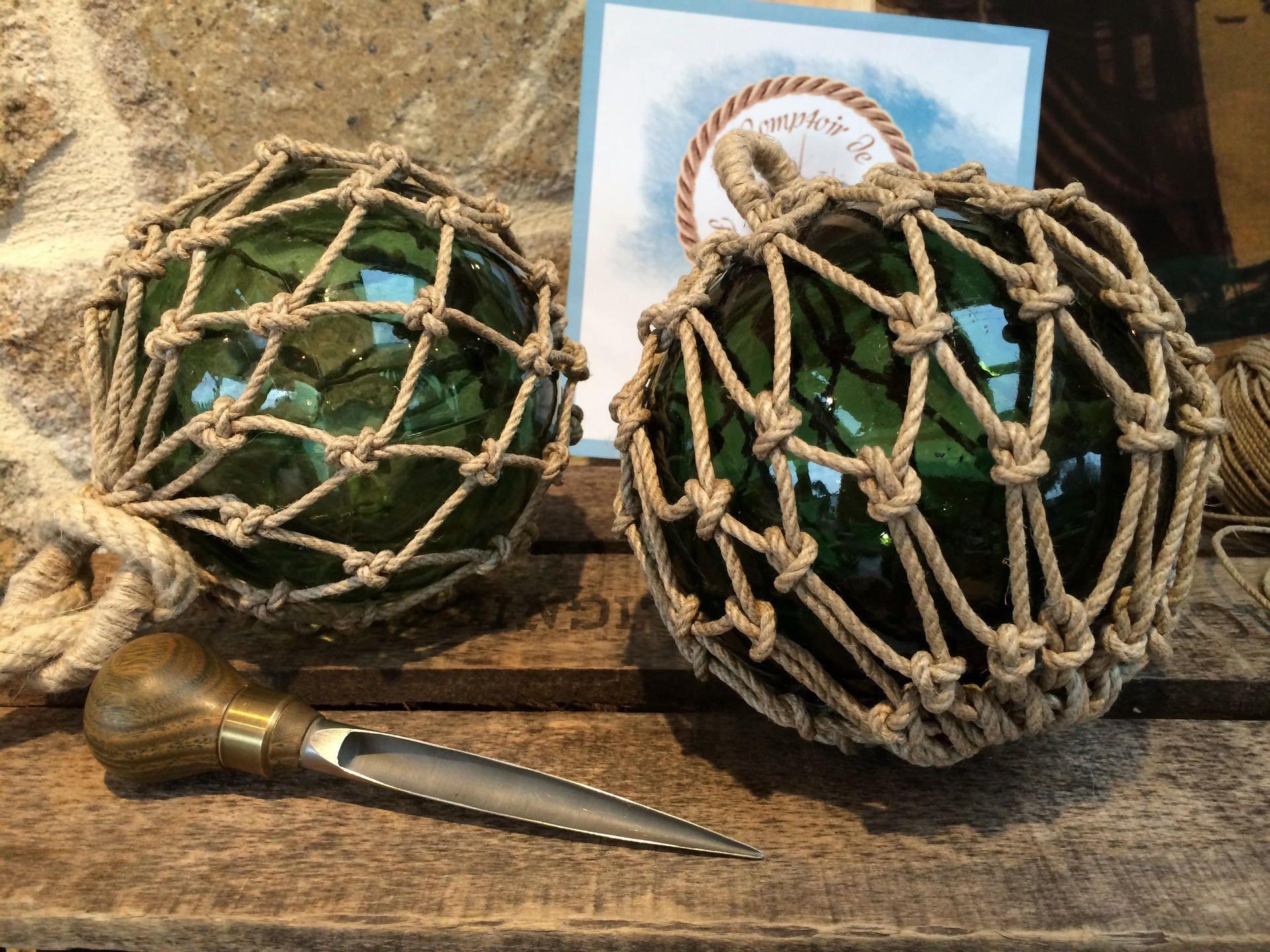 D coration marine boule flotteurs de p che verre n uds for Filet de peche decoration