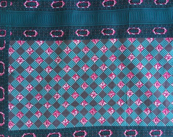 "1 CouponTissu Wax - African fabric ""Checkerboard"""