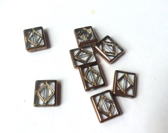 8 style stained glass, copper and transparent glass beads
