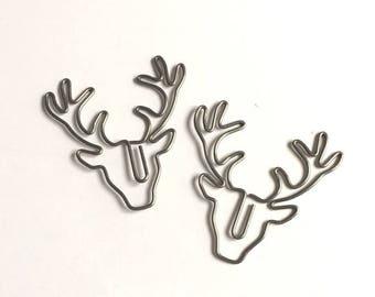 Paper clips animals deer metal grey
