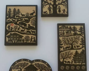 A set of 4 magnets (magnets) style poya in woodcut