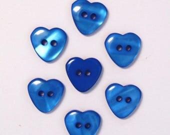 Heart 15mm set of 10 buttons: Blue - 002220