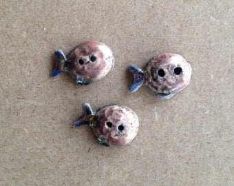 3 buttons decorative purple fish - raku ceramic 2 holes - for textile designs, jewelry or other creation