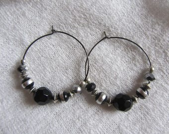 Earrings hoops and beads of glass and metal black and silver faceted beads, gun metal, party, Christmas
