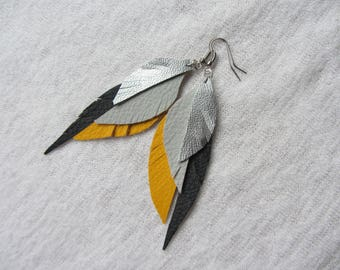Long dangle earrings feathers leatherette silver, grey, mustard yellow and black, earrings, very modern and ethnic spirit lgeres