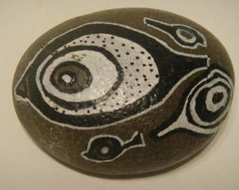 Pebble hand painted with acrylic paint