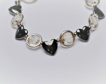 Bracelet with hematite hearts and cubes on silver plated and stainless steel Crystal / stone of harmony / Valentine / engagement/love