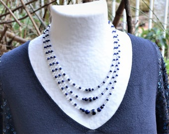 925 Silver necklace / lapis lazuli and rock crystal beads / stone of self-confidence / Triple strand / women gift