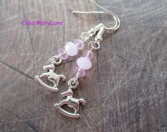 Pink Rocking Horse earrings with surgical steel hooks