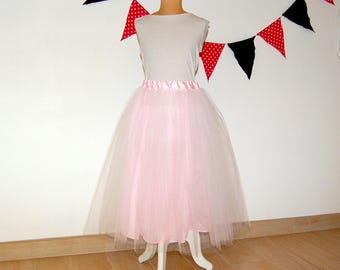 Pink romantic long tutu skirt