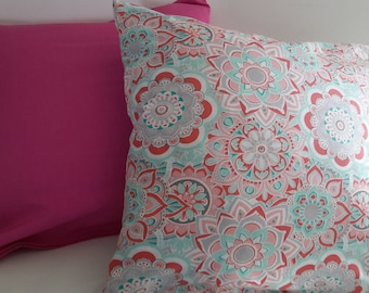 Set of 2 hot pink pillow covers, pink and turquoise geometric designs