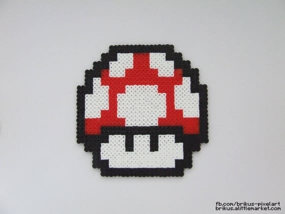 champignon super mario pixel art en perles hama. Black Bedroom Furniture Sets. Home Design Ideas